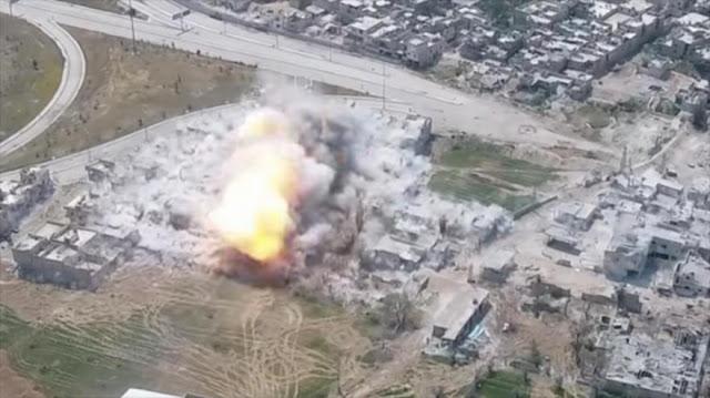 Dron capta ofensiva siria contra terroristas en Damasco