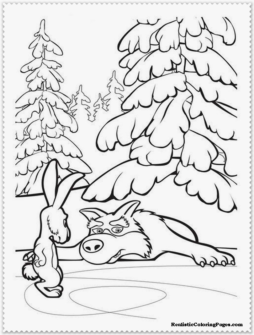 mascha and the wolf coloring pages for kids
