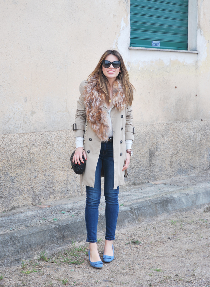 Trench and jeans