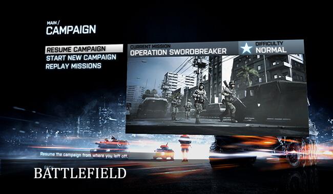 Battlefield campaign menu