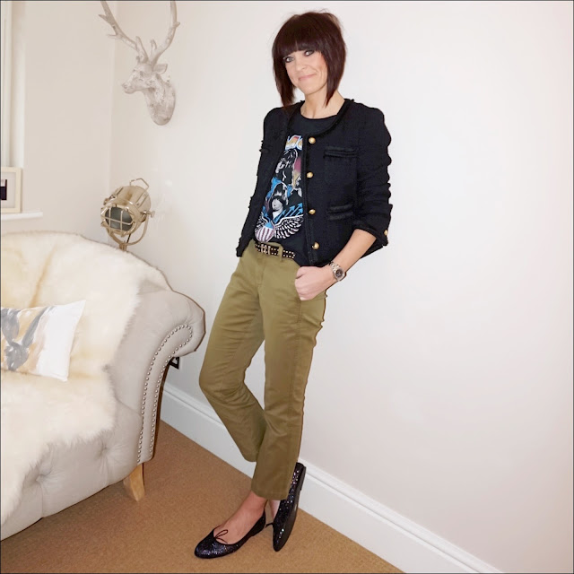 My Midlife Fashion, J Crew Lady Jacket, zara band t shirt, j crew cropped kick flare sammie chinos, french sole arabella black glitter ballet pumps