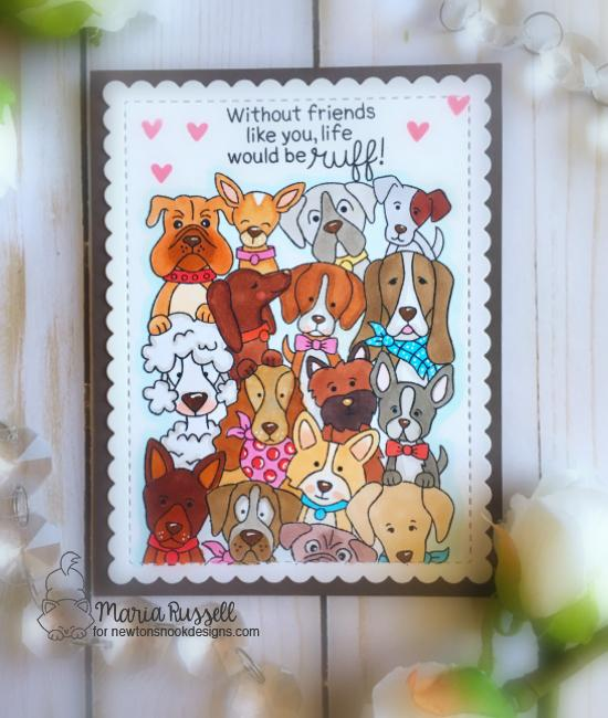 Life would be Ruff | Dog card by Maria Russell | Woof Pack Stamp Set and Frames & Flags die set by Newton's Nook Designs #newtonsnook