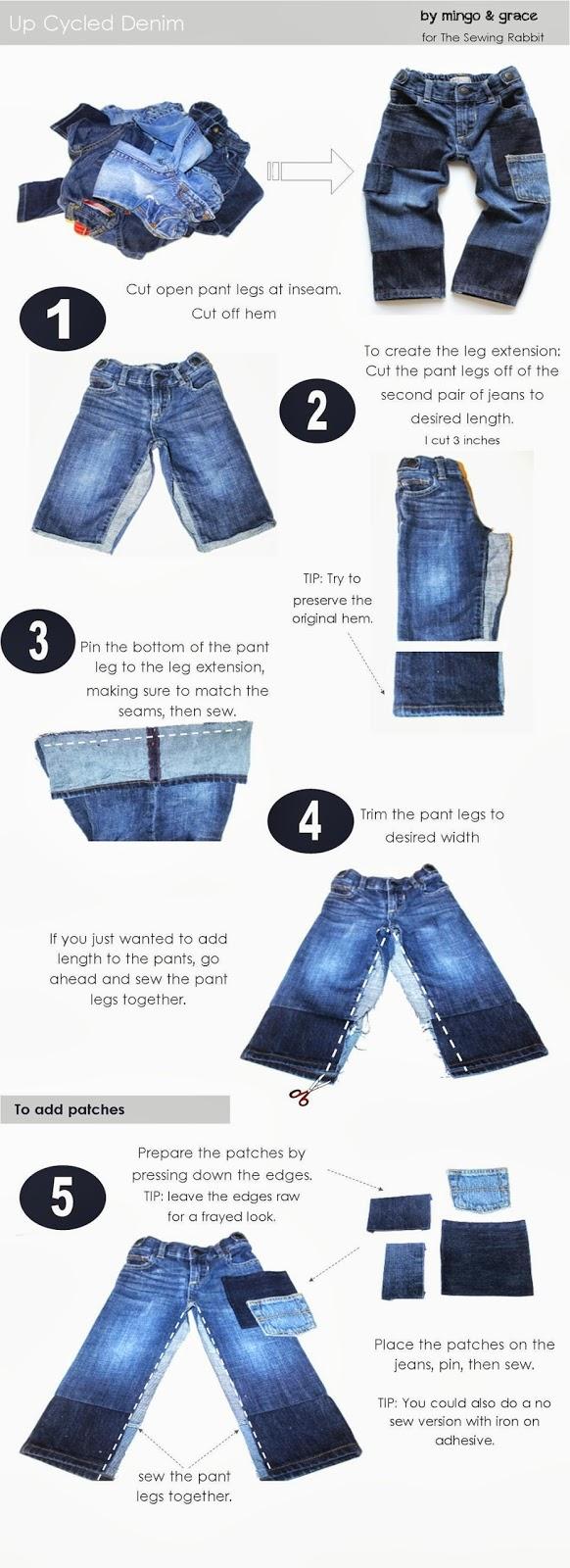 Upcycled Denim DIY - #SewingRabbitFallCollection - Mingo & Grace