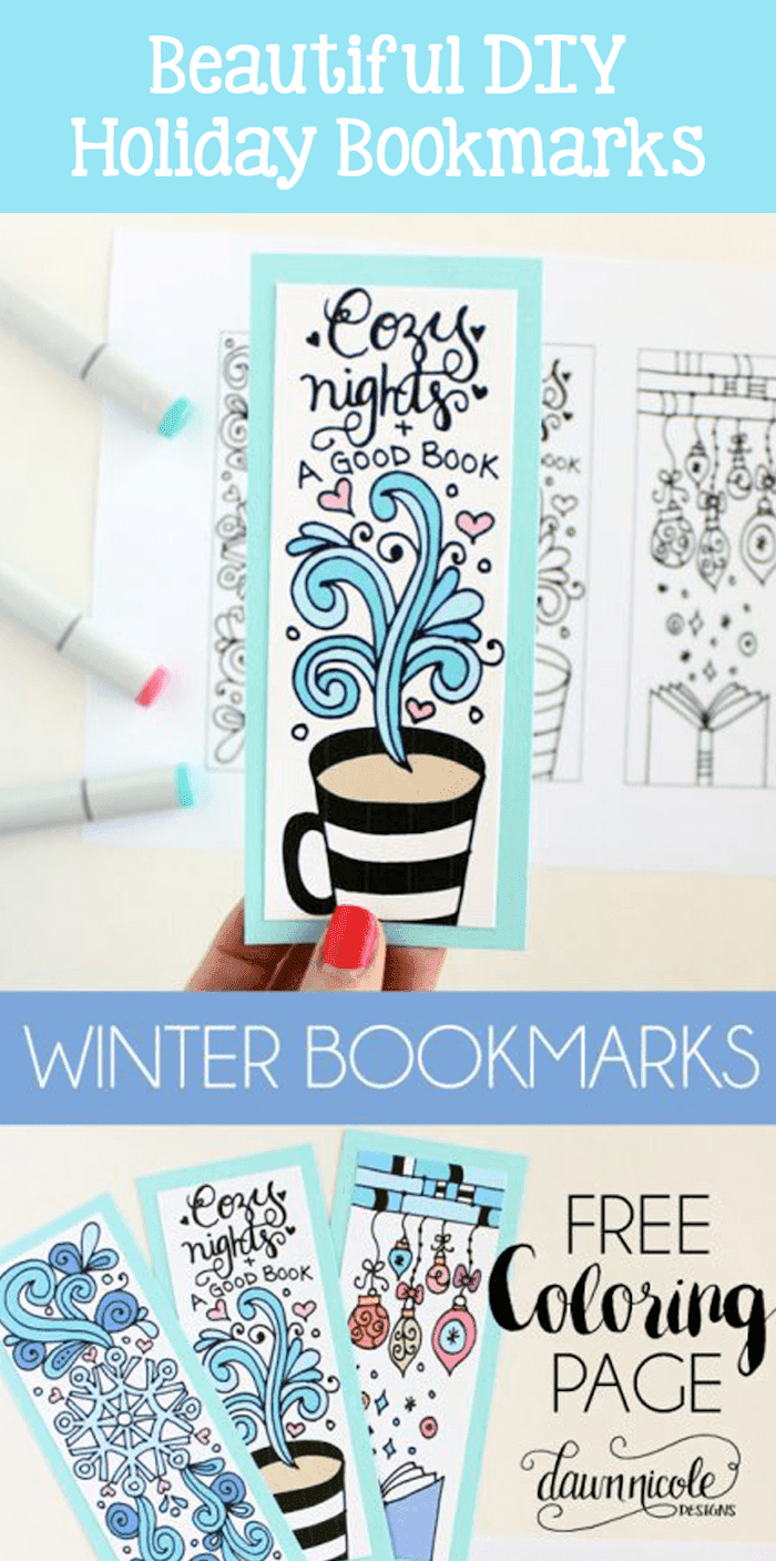 DIY Winter Bookmarks from Dawn Nicole Designs. 30 Days of Pretty Christmas Printables hosted by GradeONEderfulDesigns.com