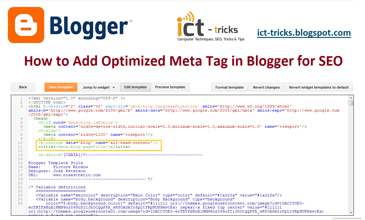 How to Add Optimized Meta Tags to Blogger for SEO