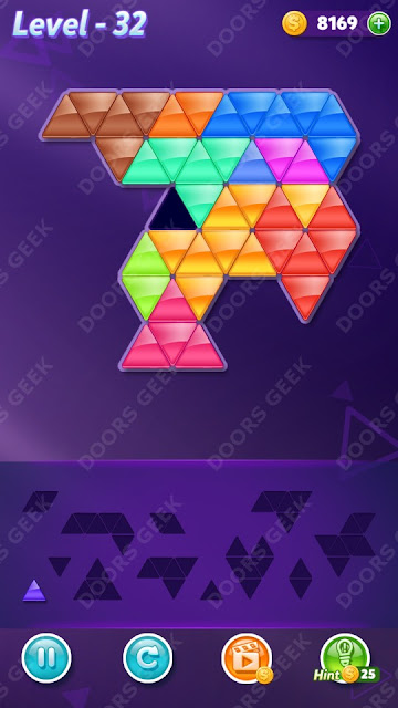 Block! Triangle Puzzle 12 Mania Level 32 Solution, Cheats, Walkthrough for Android, iPhone, iPad and iPod