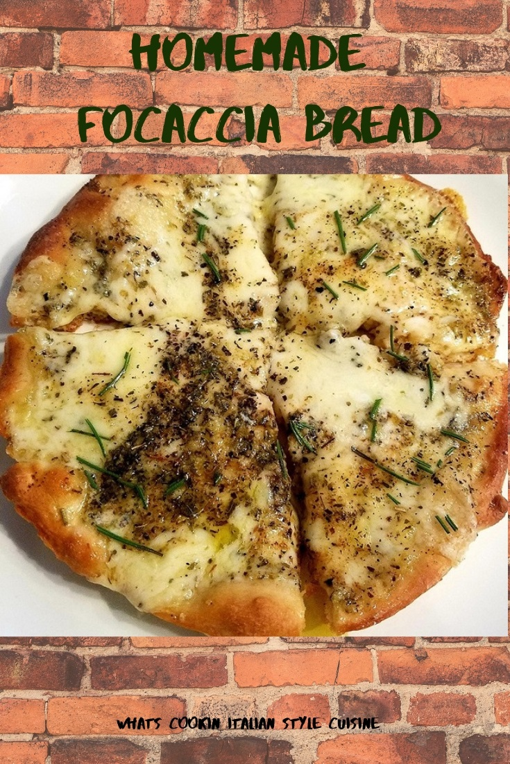 this is a pin for later homemade focaccia bread pizza photo with rosemary and herbs on top with melted mozzarella cheeses