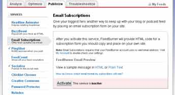 feedburner email activation