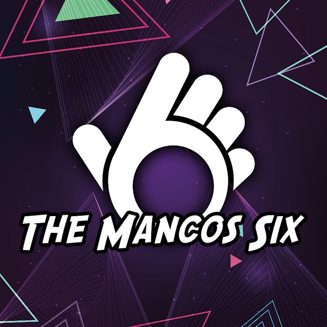 Fondo morado oscuro con figuras triangulares coloridas y el logotipo de la banda The Mancos Six en medio