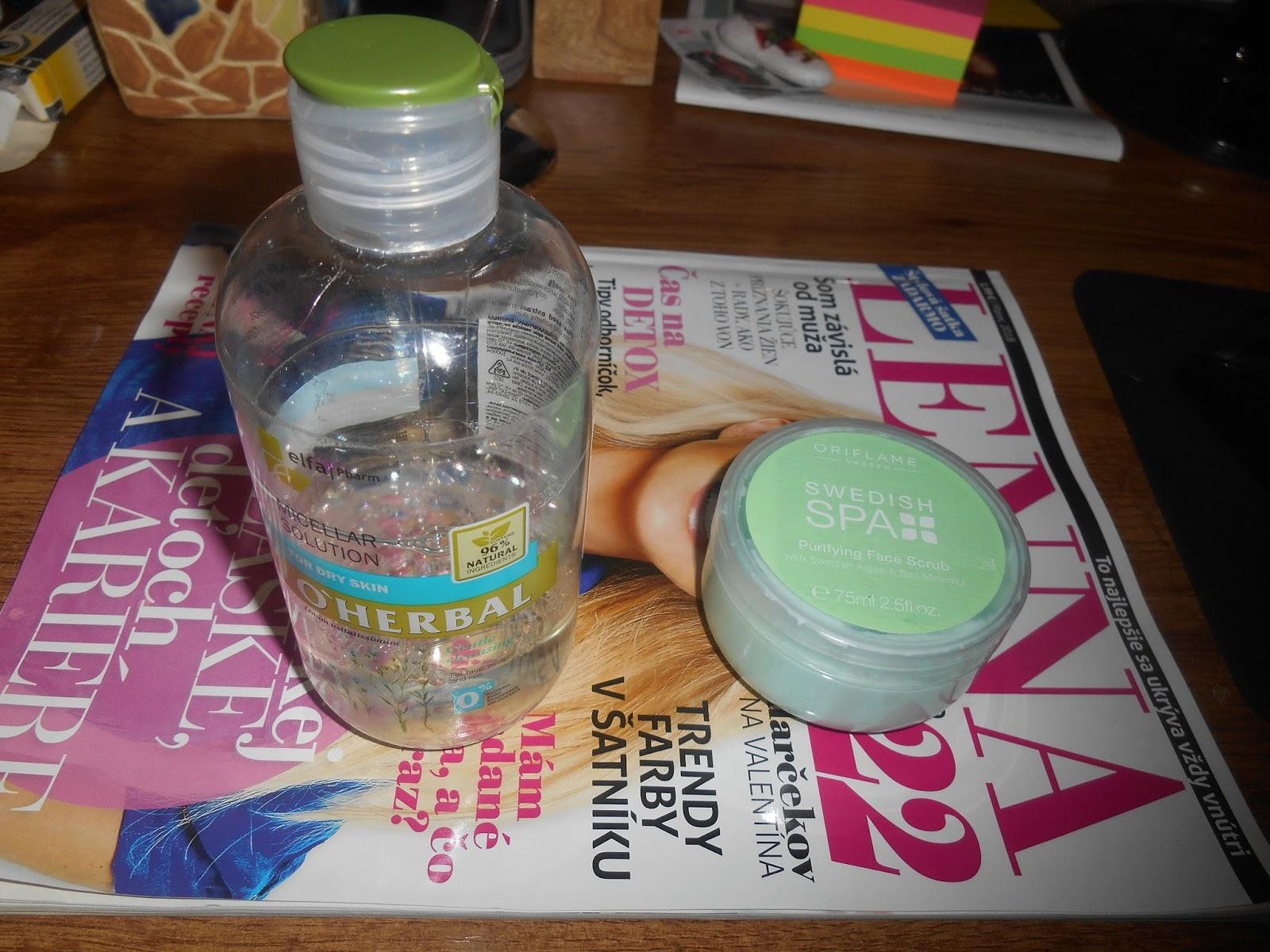 micelárna voda O´HERBAL a píling SWEDISH SPA Oriflame cad97784138