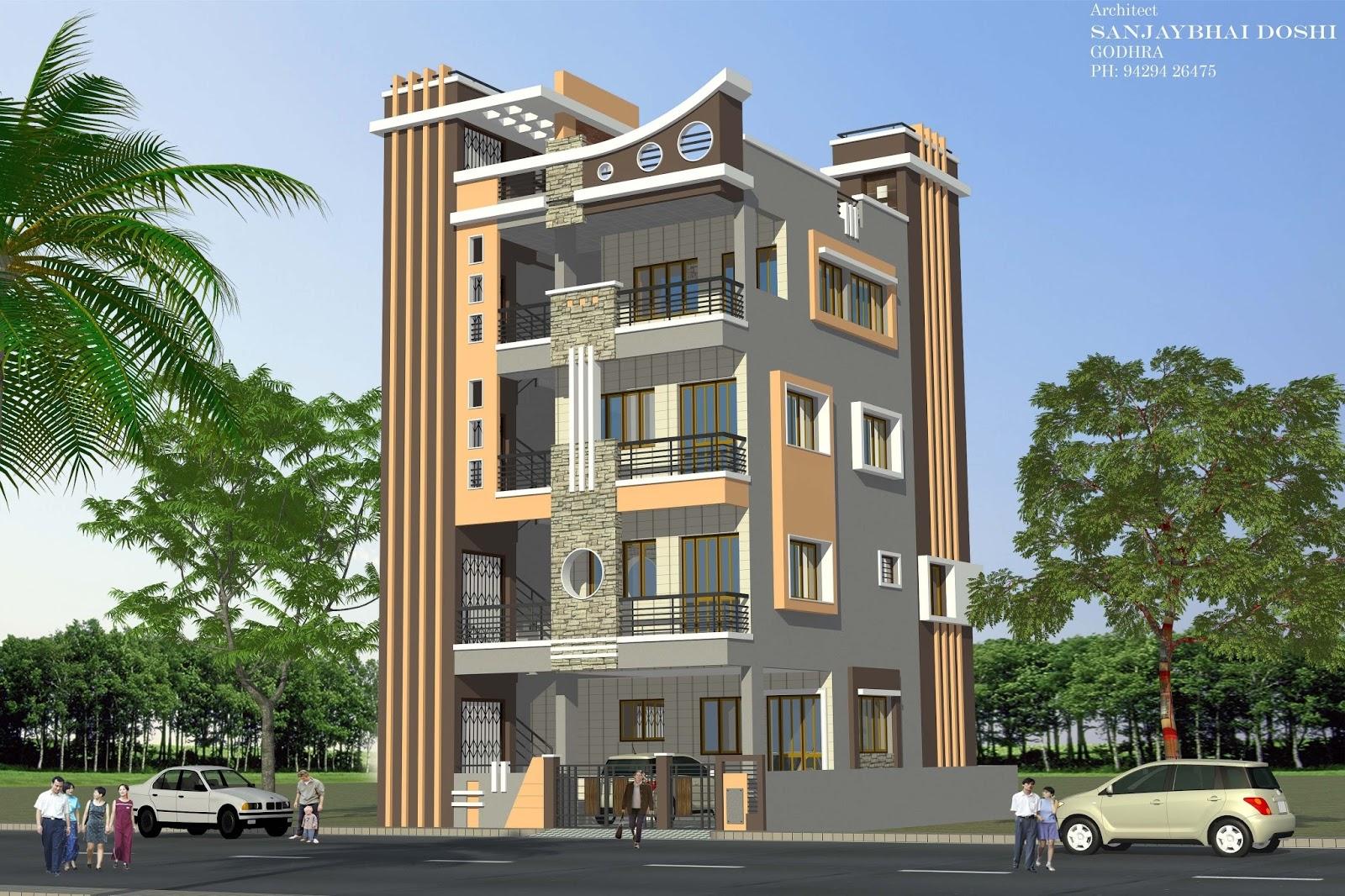 Modern 2 storey apartment design exterior desain rumah - 3 storey building exterior design ...