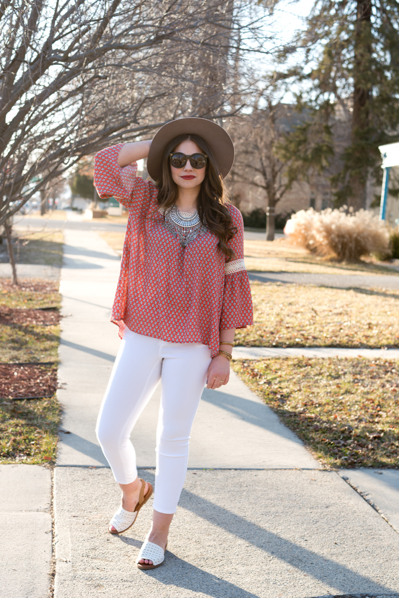 spring red and white outfit