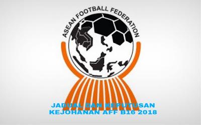 Keputusan Carta Kejohanan AFF B-16 2018 Jadual dan Kedudukan