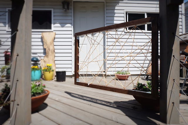 dog gate deck paracord string hinges temporary removable