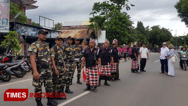 Jelang Hari Raya Nyepi, Pecalang dan Banser Tunjukan Keharmonisan