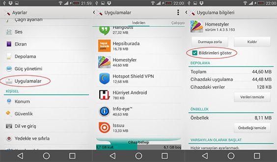 Android Cihazlarda Uygulama Bildirimlerini Kapatma