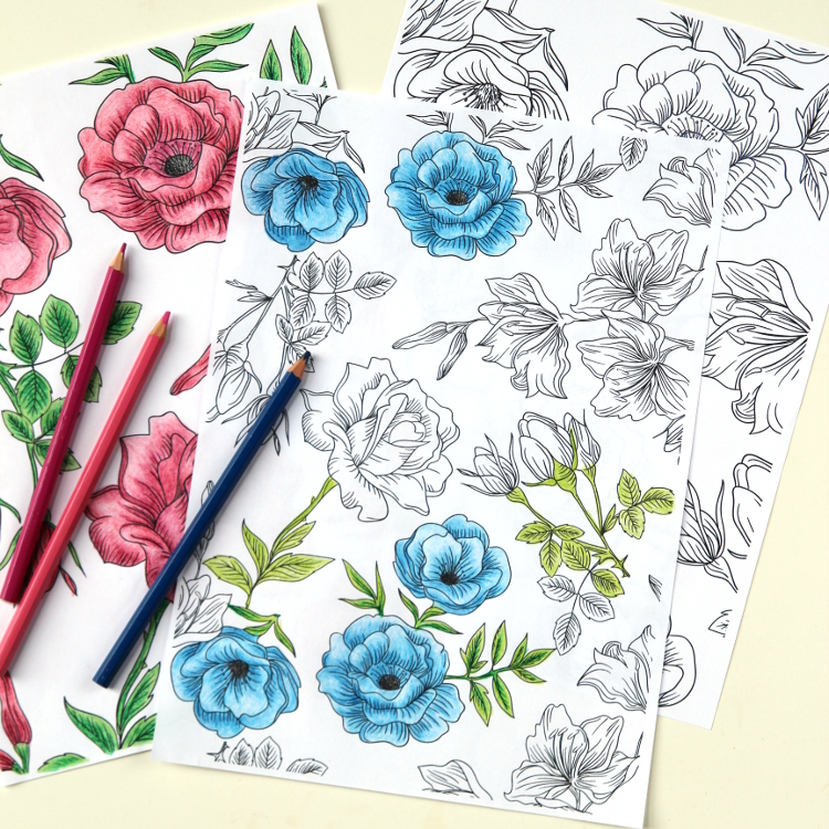 FREE FLORAL PRINTABLE COLOURING PAGES