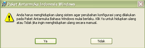 CARA MENGUBAH BAHASA INDONESIA DI WINDOWS XP