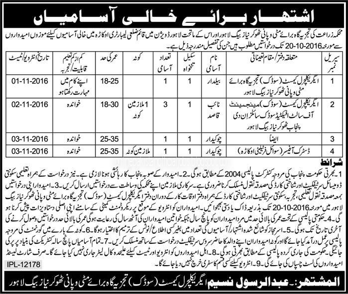 Lahore  Agriculture Department Jobs October 2016