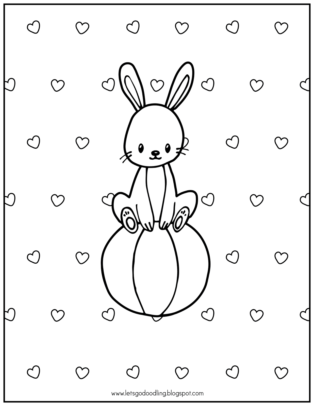 FREE Printable Coloring Page: Rabbit Sitting on a Ball