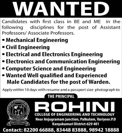 Rohini College of Engineering and Technology Wanted Assistant ...