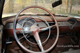 But this 1956 Chevy was somehow equipped with an automatic transmission indicated on the instrument cluster AND also a manual transmission indicated by the three pedals which appear to be of factory issue.