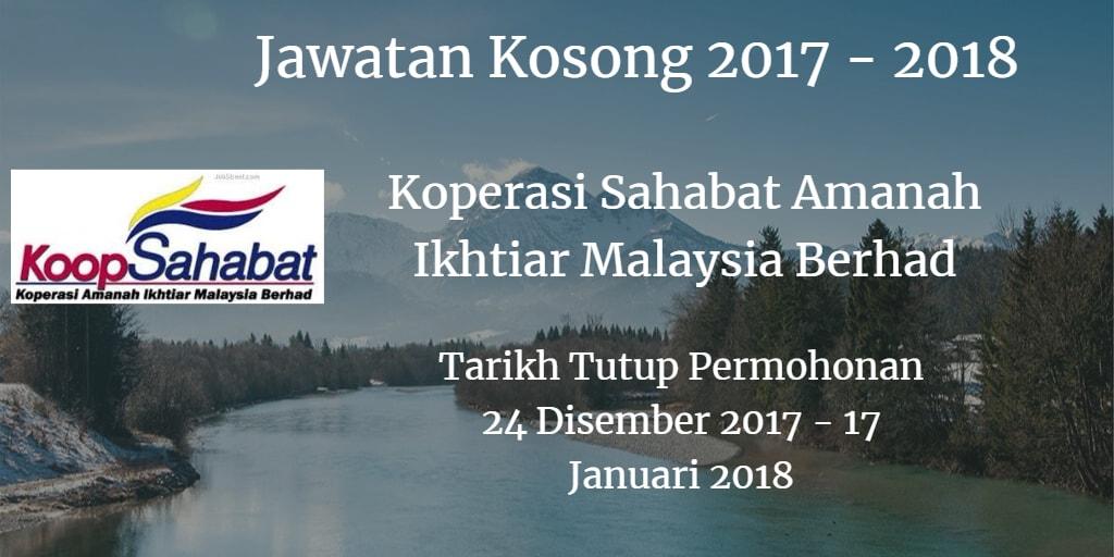 Jawatan Kosong Koperasi Sahabat Amanah Ikhtiar Malaysia Berhad 24 Disember 2017 - 17 Januari 2018