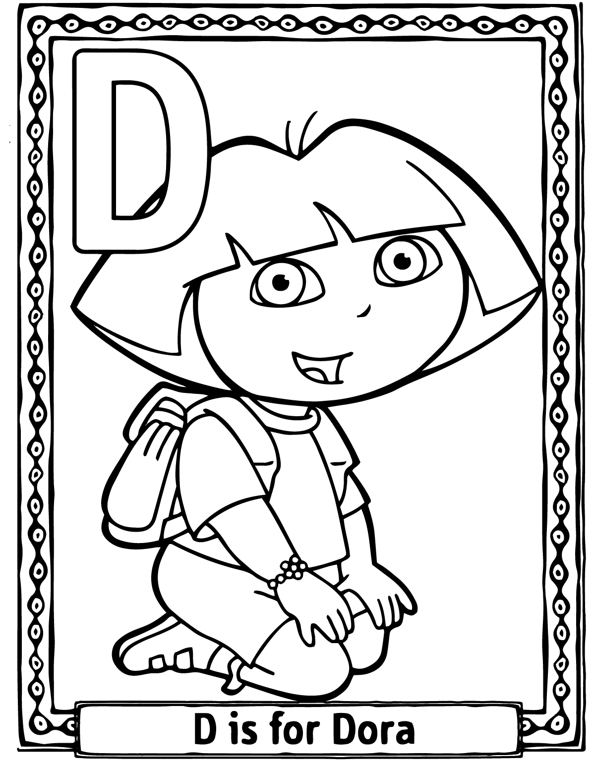 Dora Cartoon Alphabet Coloring Pages D