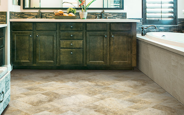 Textured ceramic tile is the perfect choice for this busy kitchen