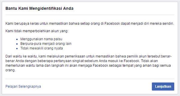 pemberitahuan konfirmasi Identitas Akun Facebook