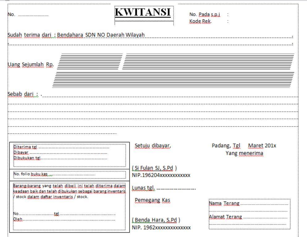 Contoh Kwitansi Laporan Bos Daftar Contoh B