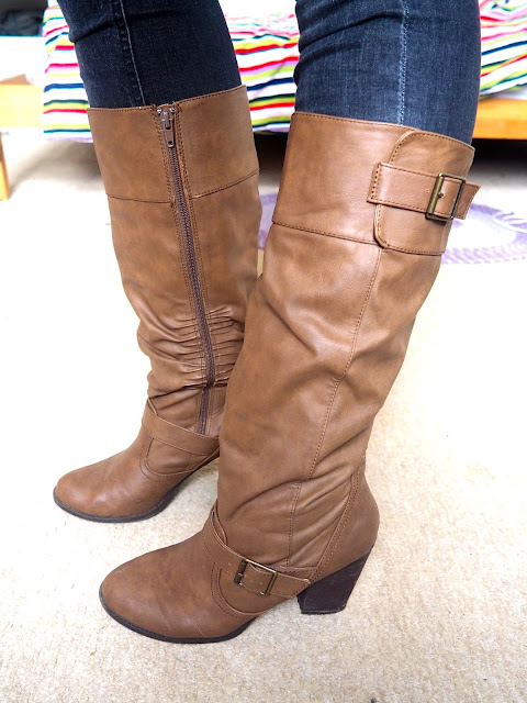 Flynn Rider Tangled Disneybound outfit - shoe details of tall brown leather high heeled boots