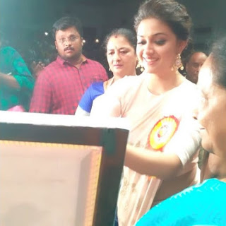 Keerthy Suresh in Saree with Cute Smile for Mahanati Felicitation in Tirupathy 3