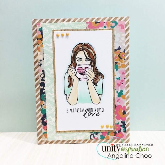 ScrappyScrappy: Cup of Love #scrappyscrappy #unitystampco #stamp #card #cardmaking #coffee #tea #copic #cratepaper