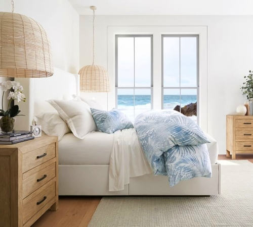 Blue Palm Coastal Island Style Bedroom