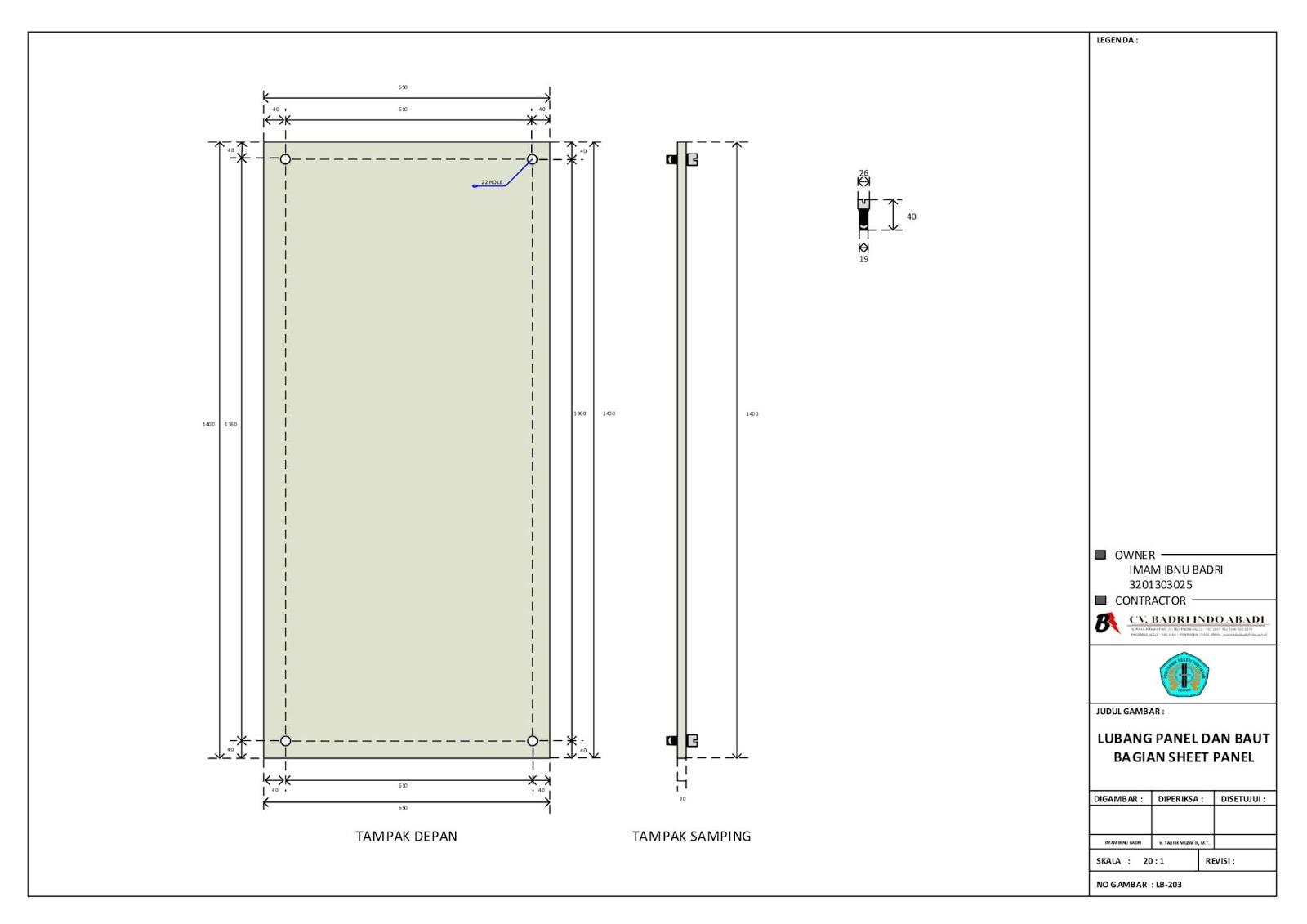 Lubang Panel dan Baut Bagian Sheet Panel