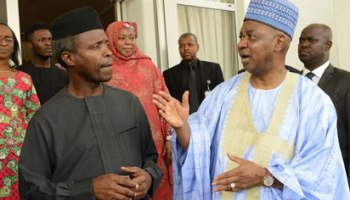 Osinbajo receives Jonathan's ex-VP in Aso Rock