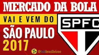 Mercado da Bola 2017: São Paulo e o vai e vem do mercado (tab BRASILEIRÃO)