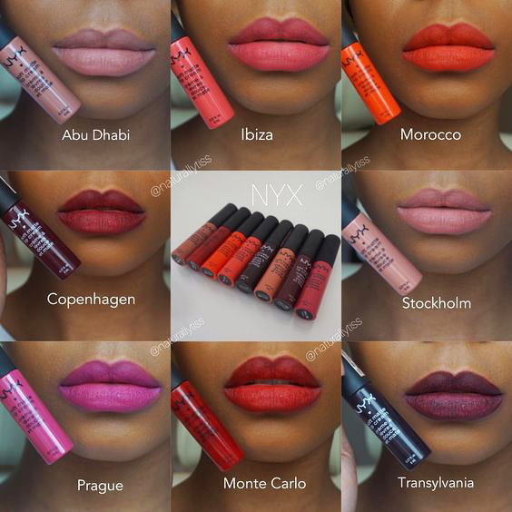 NYX Soft Matte Lip Cream Swatches on Dark Skin tone