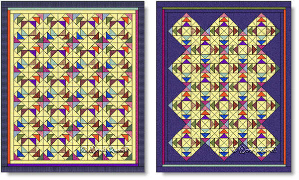Quilts designed using the TOAD IN THE PUDDLE quilt block - images © Wendy Russell