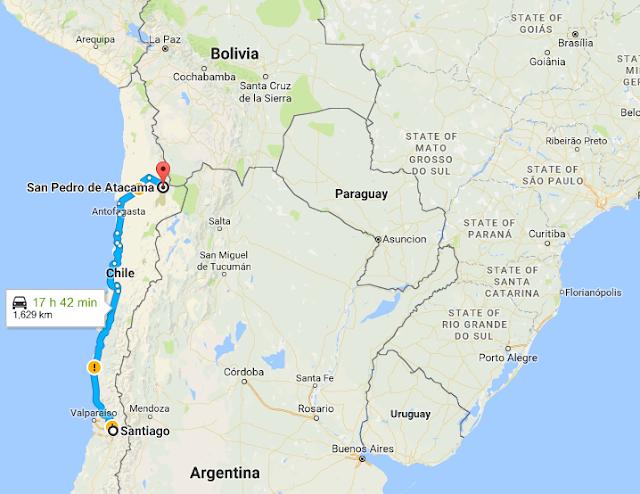 Santiago e San Pedro de Atacama distancia