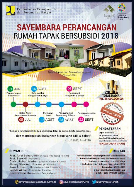 Sayembara Perancangan Rumah Tapak dan Rumah Susun PUPR 2018 Berhadiah Total 170 Juta Rupiah