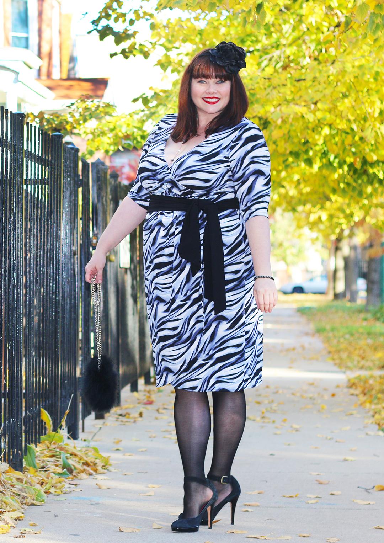 Chicago Plus Size Blogger Amber from Style Plus Curves in a Kiyonna Wrap Dress, Dahlia dress, plus size dress, Black Friday Sale, Zebra Print Dress