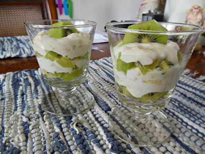 Creamy Banana and Kiwi Parfaits, no grains and no sugar.