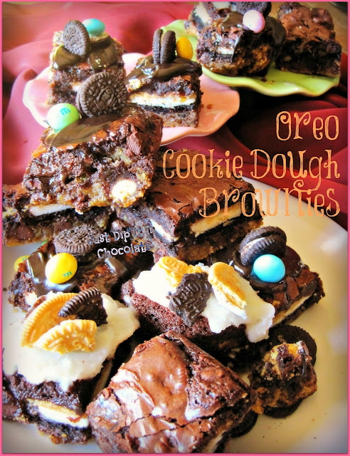 Oreo & Cookie Dough Brownies Recipe, these brownies will have you come back for more, Oreo Cookies, Cocoa Butter Spread, White Chocolate M&M's, to name a few of the tasty ingredients.