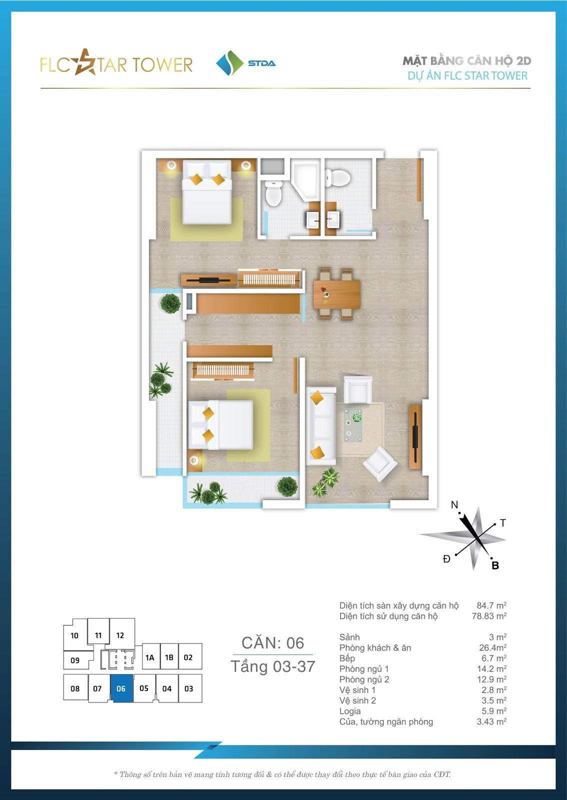 Thiết kế căn hộ 06 - Chung cư FLC Star Tower Hà Đông
