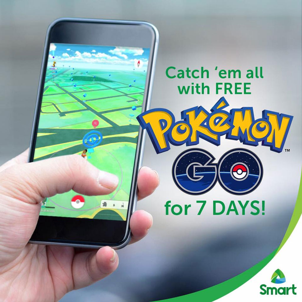 Ad poster for Pokemon GO free access from Smart