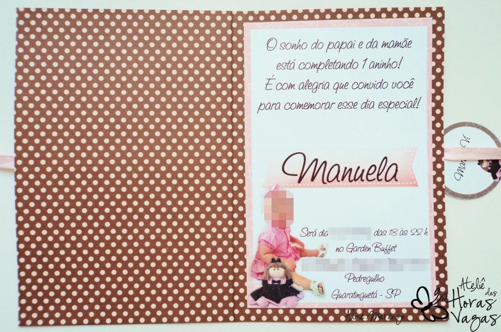 convite artesanal 1 aninho poá marrom rosa boneca de pano festa
