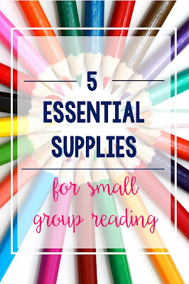 Check out the 5 supplies that are think are essential to small group reading.  Students in kindergarten and grades 1, 2, 3, 4 and 5 will benefit from these tips!