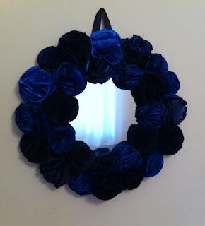 mavi lacivert el yapımı gül ayna ev dekorasyon